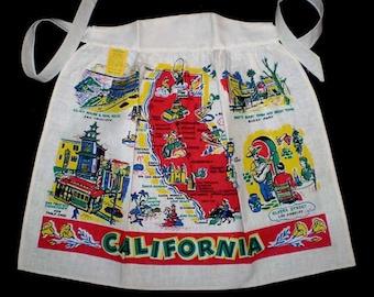Vintage 50s California Souvenir Apron Unused