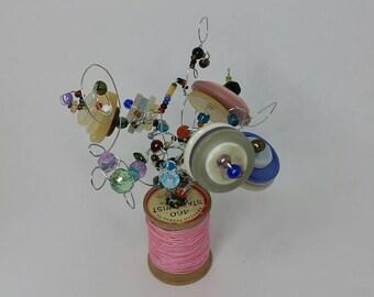 Vintage Wooden Spool Button Bouquet