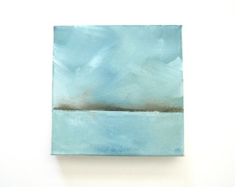 By and By  - Original Oil Painting - Landscape Painting - Abstract Landscape Painting - 6x6 - Weather Cloud Painting Calm Coastal Seascape