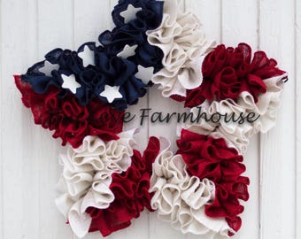 Independence Day Wreath, Fourth of July Wreath, Flag Wreath, Star Wreath, Patriotic Wreath, Americana, ruffle wreath, red white and blue