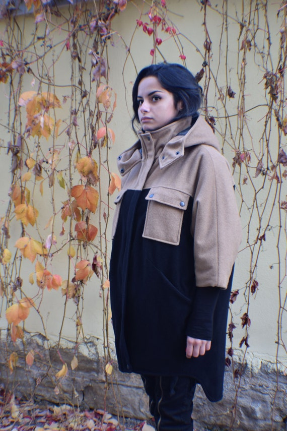 Coat Hoodie Wool Black Warm Coat Coat Coat Coat Brown Coat Cashmere Plus Coat Winter Hood Hooded Big Coat Oversized Size Coat xxgRrqOw6a