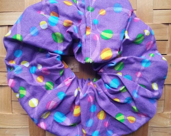 Hair Scrunchie-with Multi-colored Bright Polka Dots-Swirl Throughout