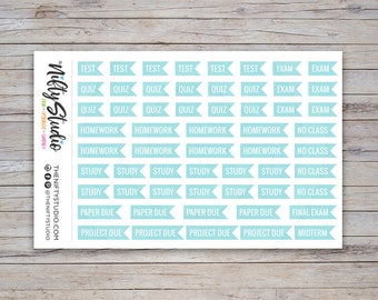 College Planner Stickers | Light Teal Flag Stickers for School | Planner Stickers | The Nifty Studio [208]