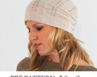 Slouchy beanie pattern. PDF Sewing pattern for Women. Slouchy Hat Pattern