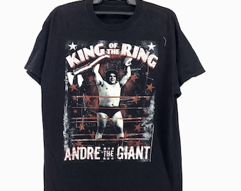 Vintage World Wrestling Federation WWF  WCW The Legend Andre The Giant T-Shirt Shirt Rap Tees Hip Hop Swag