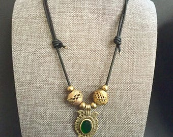Imperial Green Eye on Leather Necklace