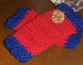 Berrylicious Fingerless Gloves Texting Gloves Cranberry Red & Blueberry BOHO Gloves Arm Warmers Made to order Handmade Crocheted Scalloped