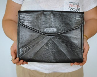 Vintage GIANFRANCO FERRE oversize leather clutch.....(174)