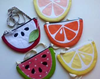 Fruit slice purse, toddler purse, zippered pouch, clutch