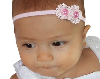 Pink Baby Headband, Pink Headband, Baby Headband, Newborn Headband, Baby Girl Headband, Infant Headband, Flower Headband, Toddler Headband