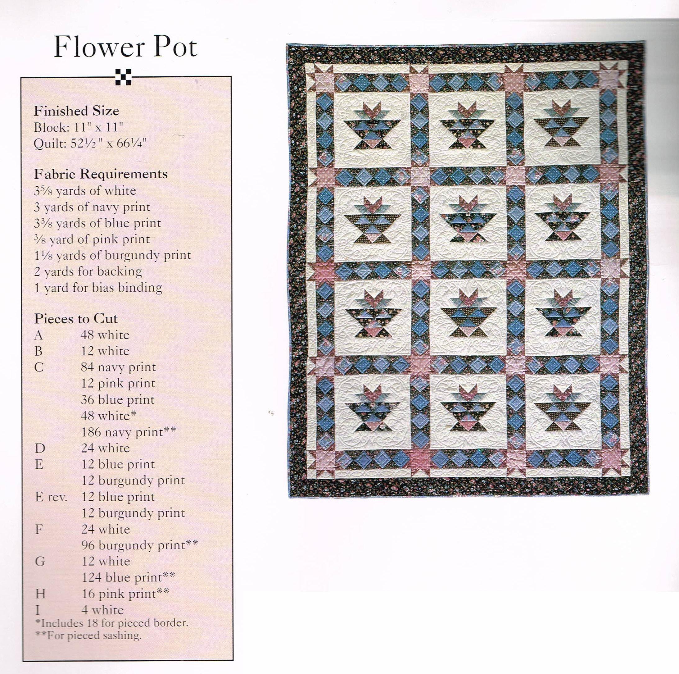 Quilt Pattern + Plastic Template - Flower Pot Quilt Sewing Pattern ...