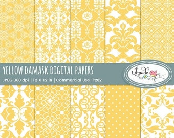 50%OFF Yellow damask digital papers, digital paper, damask digital paper, vintage digital paper, commercial use, P282