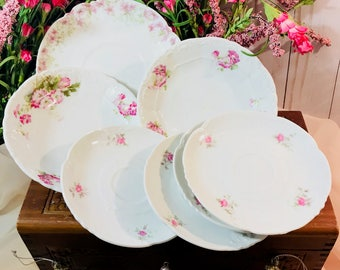 Lot Of 7 Various Small Pink Floral Plates - Shabby Chic - Wedding Bridal Shower Baby Shower Mothers Day Easter Brunch
