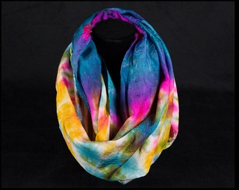 "Infinity scarf- Hand dyed 100% silk infinity scarf-""Flamingo Pink, Fuchsia, Purple, Yellow and Blue"""