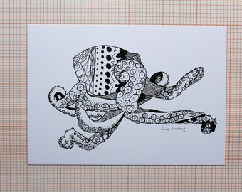 Octopus in ink - A6 Postcard