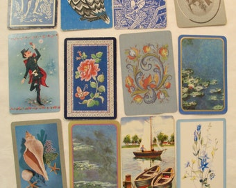 12 Playing Cards,  Playing Card Swap, Blue Playing Cards, Antique Playing cards, Monet