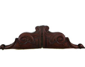 Pair Antique Corbels Hand Carved Wood Pediment Ornate Over Door Architectural