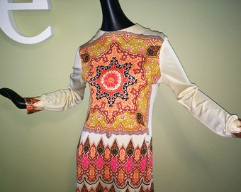MOD Vintage 1960s Alfred Shaheen Sheath Dress Psychedelic Mandala Medallion Print Ethnic Moroccan Hippie Boho Print Knee Length Long Sleeve