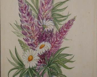 Vintage water color of lupine and daisy signed 1985