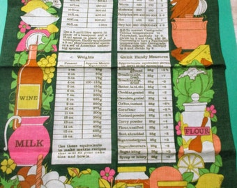 Metric Measures Tea Kitchen Towel  (Old Bleach) Linen/Cotton Blend Made In Ireland  19 x 28