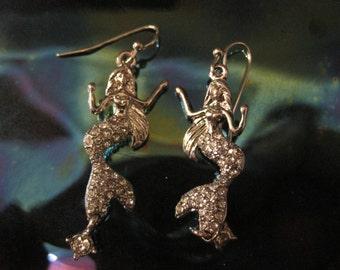 Silver Mermaid Earrings - Dangle Earrings - Rhinestone Silver Mermaid Earrings - Beach Earrings - Beach Wedding - Nautical Jewelry