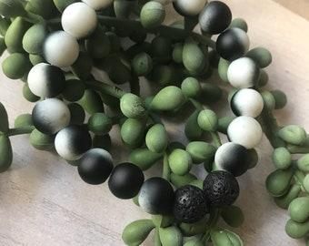 Diffuser Bracelet// Essential Oil Jewelry// Natural Lava Stone// Black & White Zebra