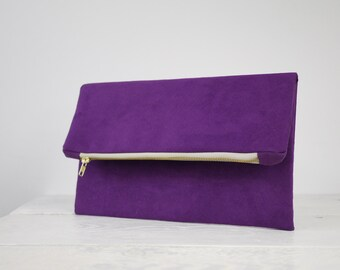 Purple Fold Over Clutch