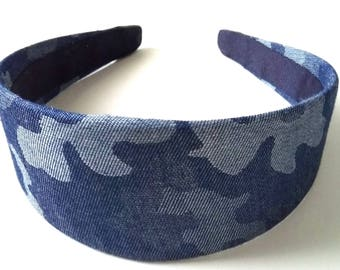 Denim Camouflage   Headband 2 Inch
