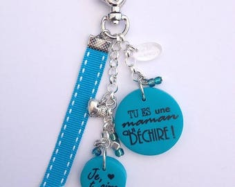 MOM keychain or bag charm