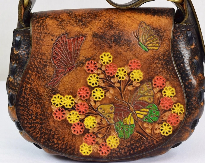 Vintage 1970's BiG Painted BuTTerFLY FloWeRs Hand TooLeD Leather Hippie Handbag Hand Purse