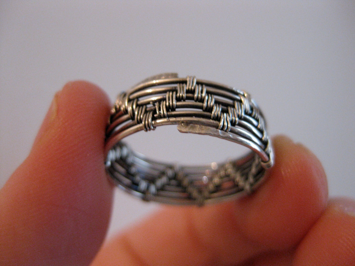 Wire wrapped ring mens womens sterling silver zoom publicscrutiny Image collections