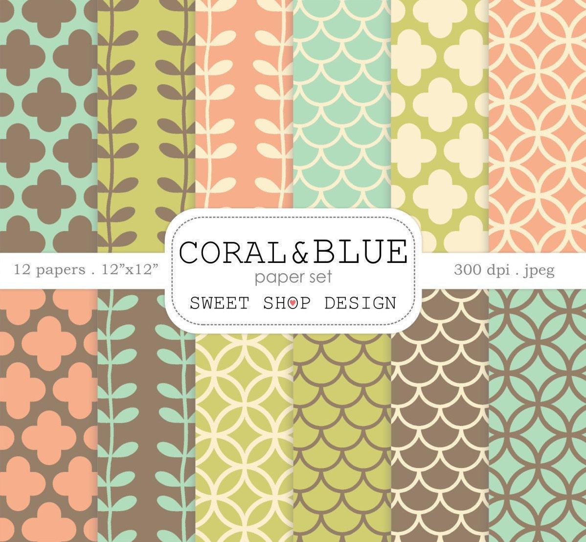 Digital Paper: CORAL & BLUE Printable Scrapbook Paper Pack