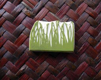 Grass Rubber Stamp, Reeds Design, Hand Carved, Nature Stamp