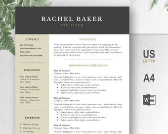 Professional Resume Template, CV, Curriculum Vitae, Template Design, Instant Download For Word, Two-Page Resume, Gold, Rachel