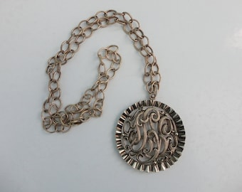 VINTAGE scroll PENDANT on chain NECKLACE
