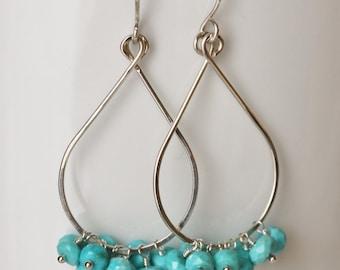 Arizona Turquoise Earrings, Turquoise Earrings, Argentium Sterling Silver, Gemstone Cluster, Tear Drop Earrings - Priscilla