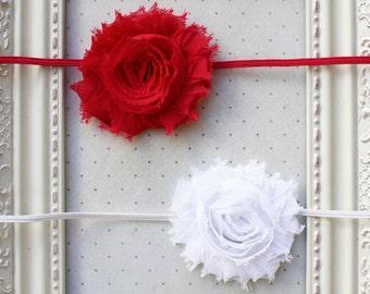 Set of 2 Chiffon flower headbands, baby headbands, newborn headbands, flower headbands,chritsmas headbands, photography prop- SET OF 2