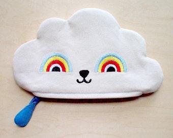 Cute Vegan Pouch, Zipper Pouch, Cloud Zip Pouch, Cloud pouch, cloud purse, cloud wallet, rainbow zip pouch, rainbow pouch, rainbow purse