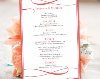 printable wedding menu template its love guava editable worddoc instant