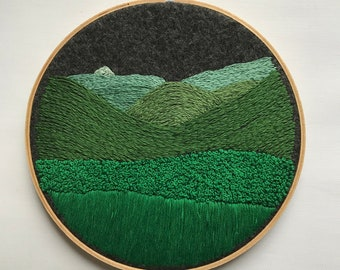 The View From Mt Peg – Hand Embroidery Wall Art – Embroidery Wall Hanging
