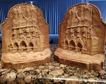 Rheims Cathedral Bookends - Genuine Burwood - Reims Cathedral - Cathedral of Notre-Dame at Reims - Burwood Products Company - Gothic Church
