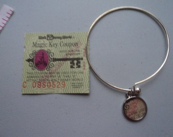 Vintage Disney ticket bangle bracelet Disney World Magic Key Coupon A