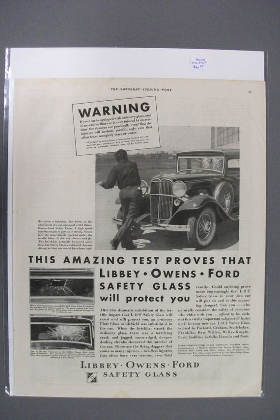 Items similar to MISC #102 Safety Glass Magazine Ad - July 1932 on Etsy