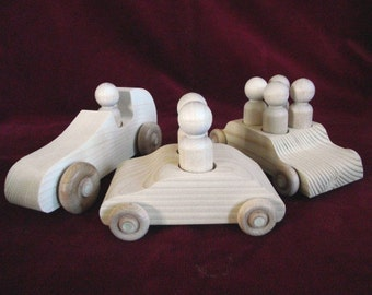 Set of Three Unfinished Cars with Peg People