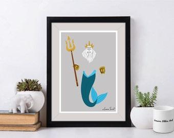 Disney's King Triton Poster/Print - minimalist king triton ariel mermaid merman sea poster art decor