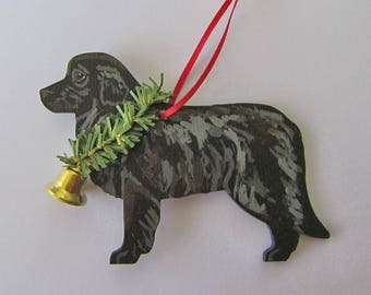 Hand-Painted NEWFOUNDLAND Black Wood Christmas Ornament Artist Original...Nicely Painted