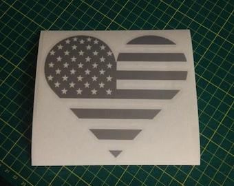 American Flag Heart Vinyl Die Cut Decal/Sticker