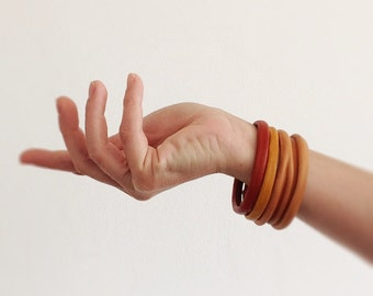 Boho Leather Bangles in Orange, Yellow and Nude