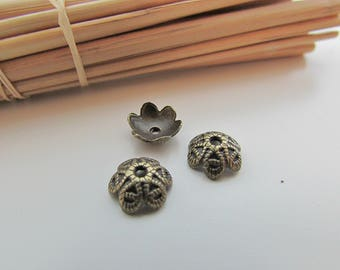 10 pearls 9 mm bronze metal - 1 mm hole - 598 Cup