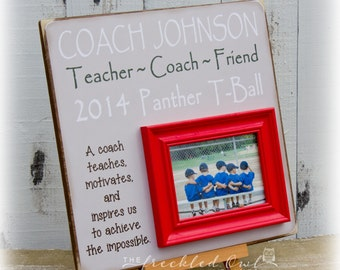 Coaches Gift, Personalized Gift for Coach, Coach Picture Frame, Baseball, Soccer, Basketball Coach Thank you Gift, 16x16